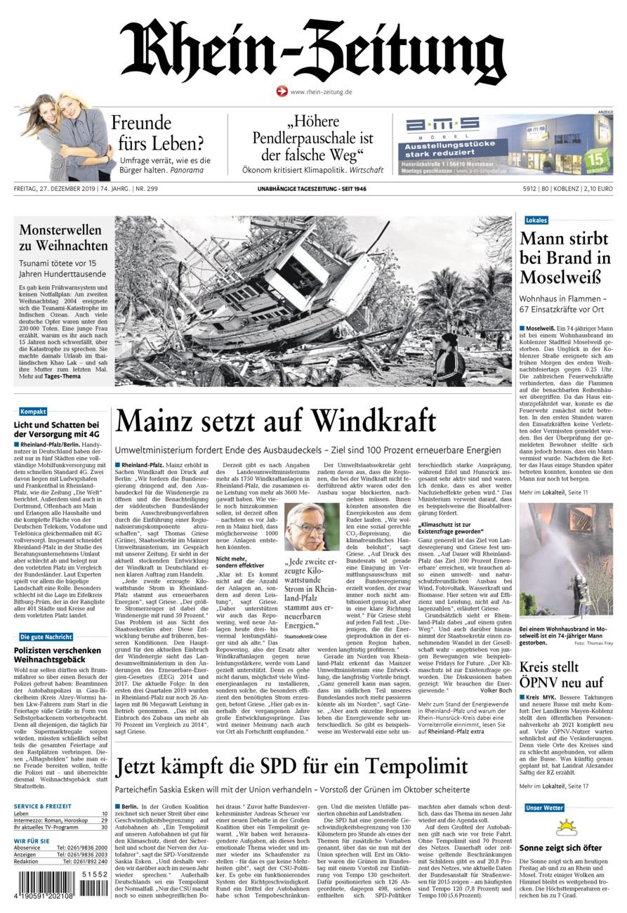 Rhein-Zeitung Koblenz & Region vom Freitag, 27.12.2019