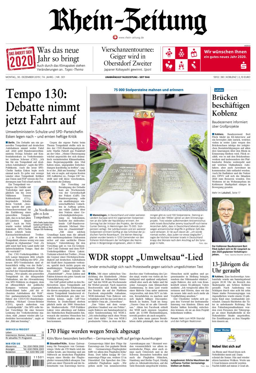 Rhein-Zeitung Koblenz & Region vom Montag, 30.12.2019