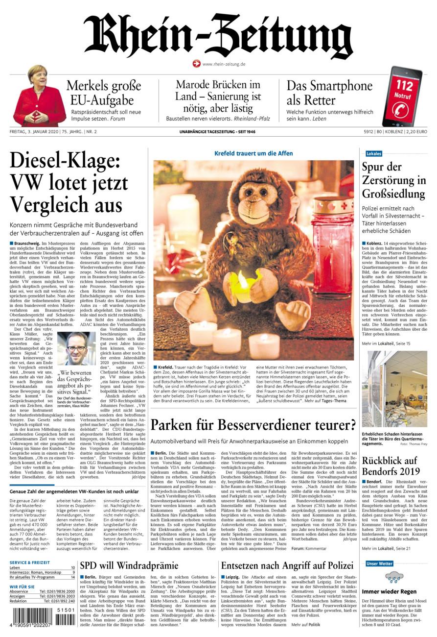 Rhein-Zeitung Koblenz & Region vom Freitag, 03.01.2020