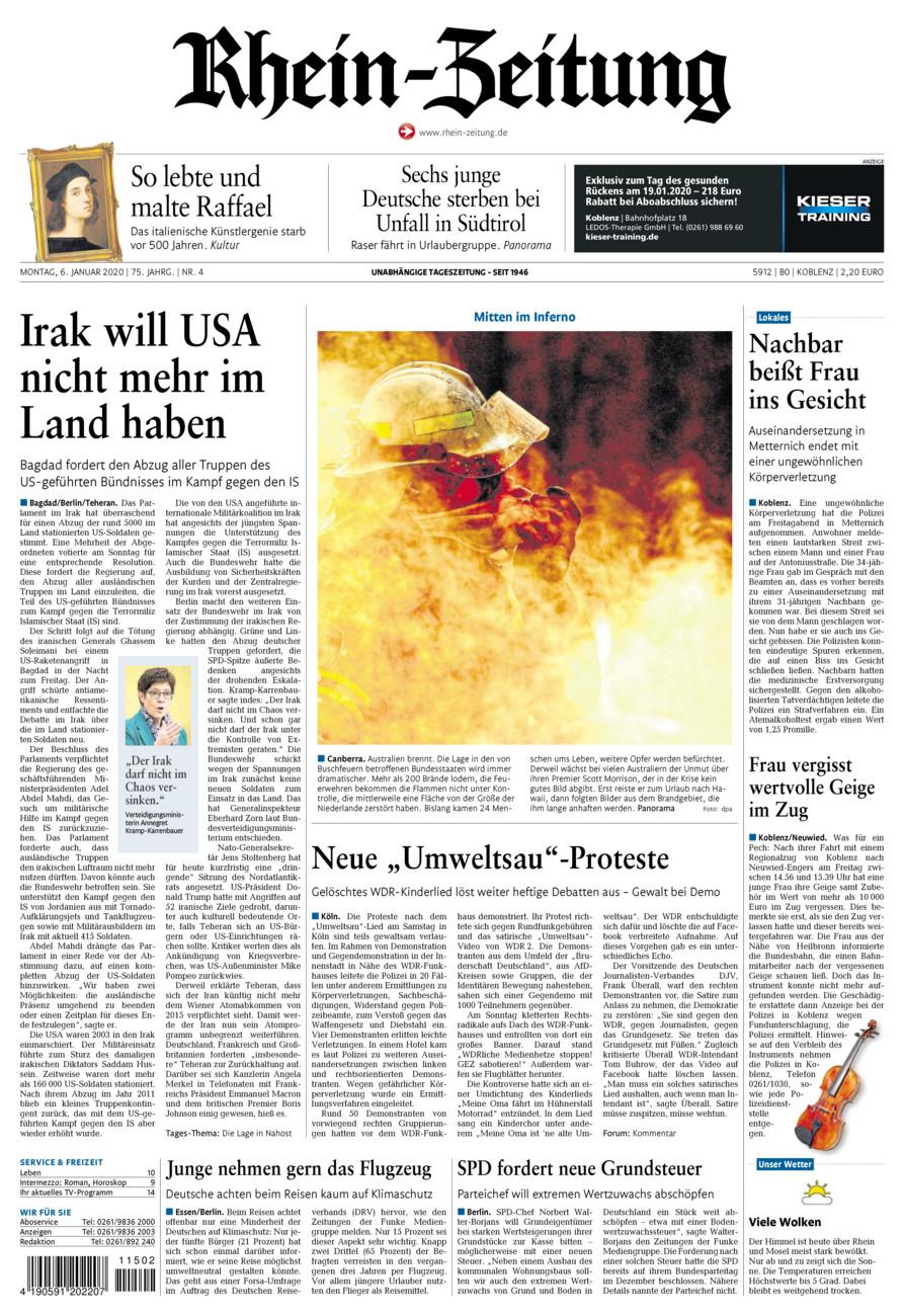 Rhein-Zeitung Koblenz & Region vom Montag, 06.01.2020