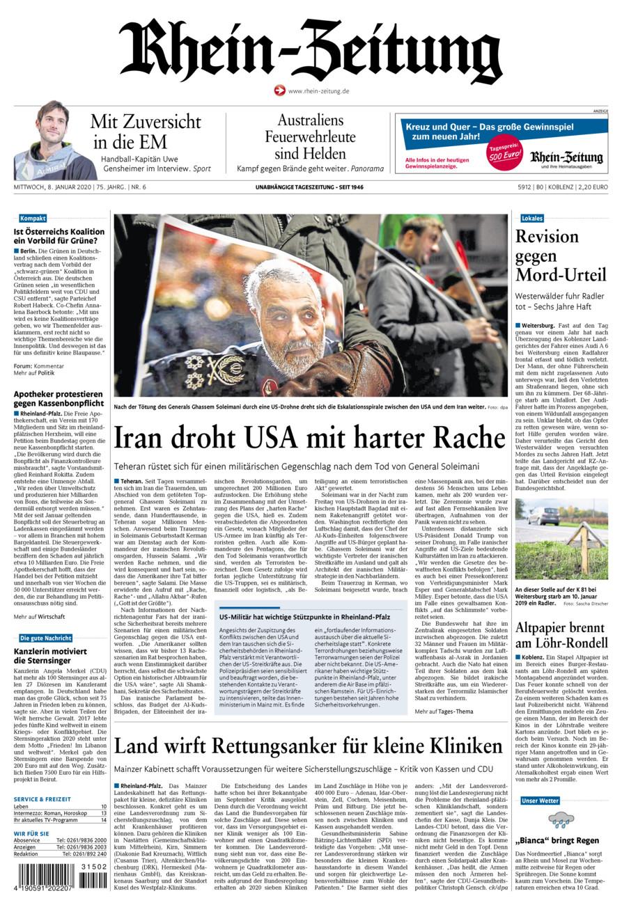 Rhein-Zeitung Koblenz & Region vom Mittwoch, 08.01.2020