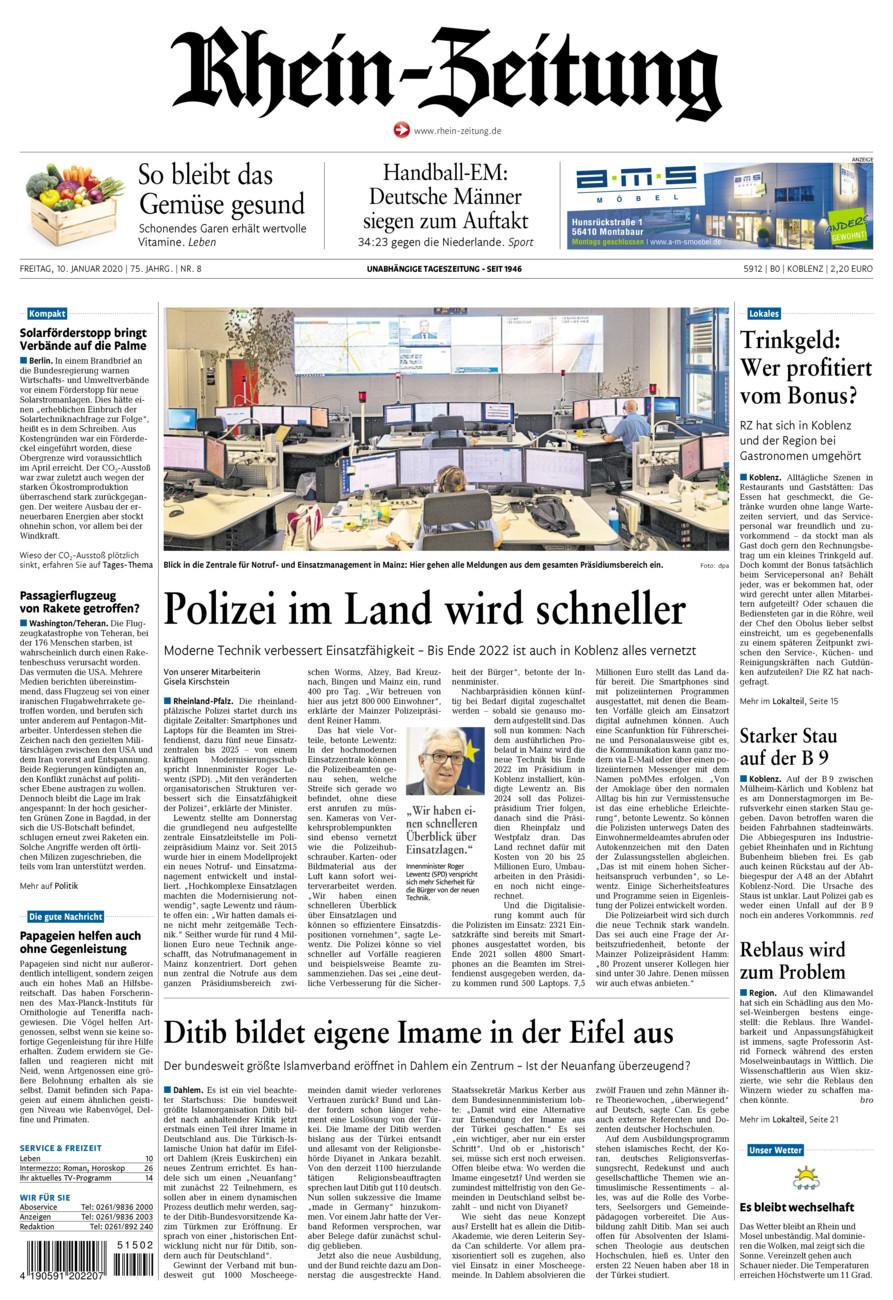 Rhein-Zeitung Koblenz & Region vom Freitag, 10.01.2020