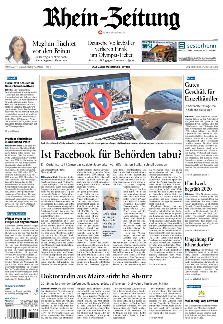 Rhein-Zeitung Koblenz & Region vom Samstag, 11.01.2020