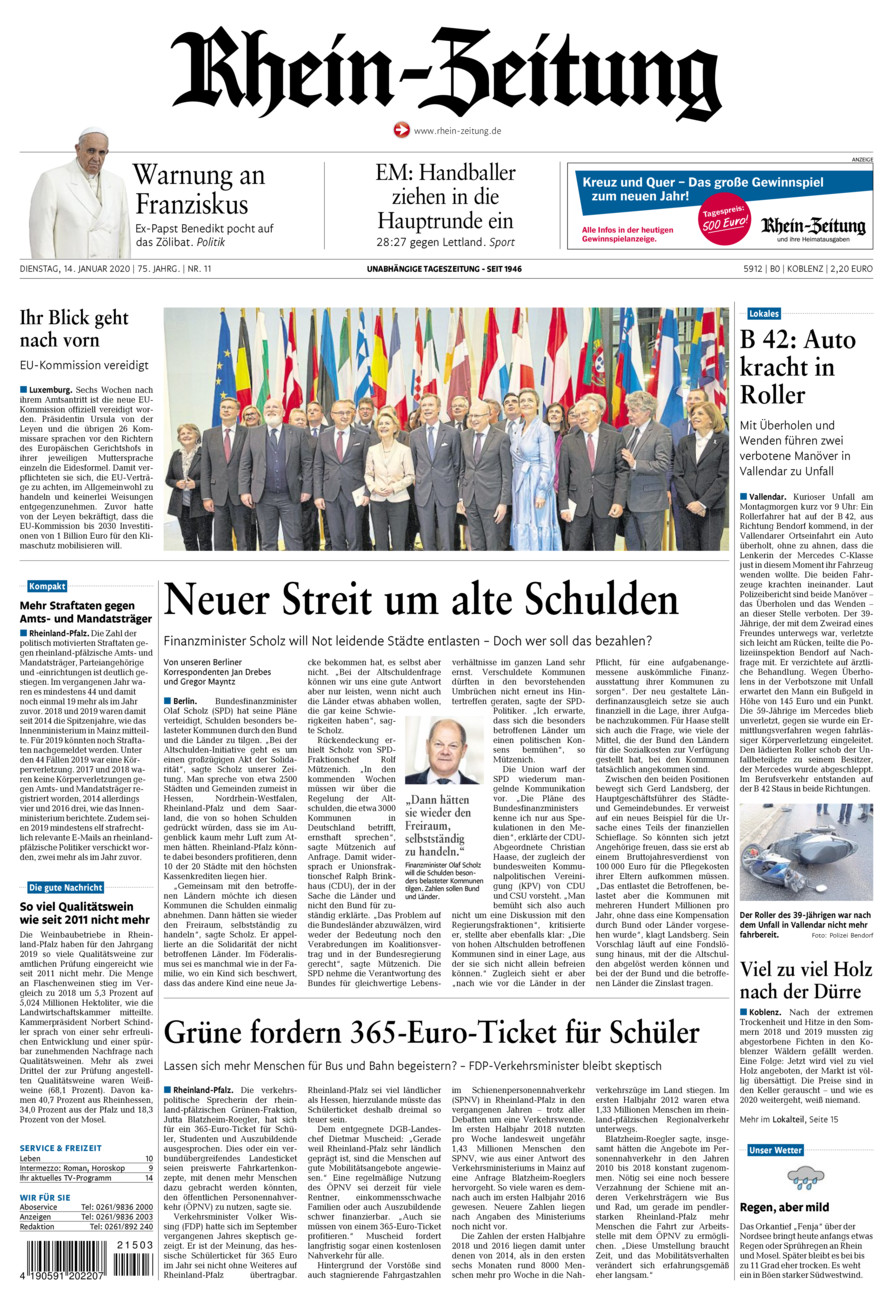 Rhein-Zeitung Koblenz & Region vom Dienstag, 14.01.2020