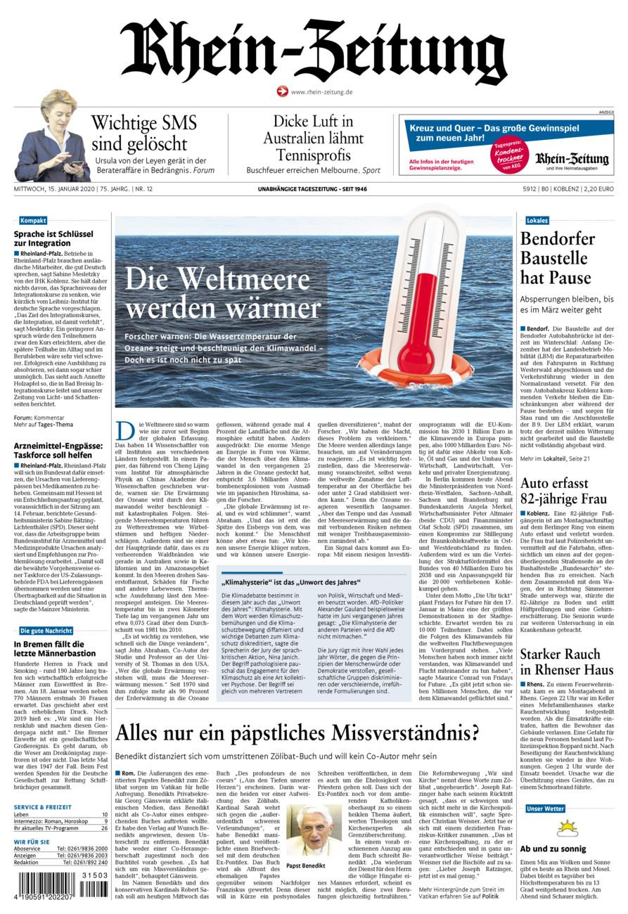 Rhein-Zeitung Koblenz & Region vom Mittwoch, 15.01.2020