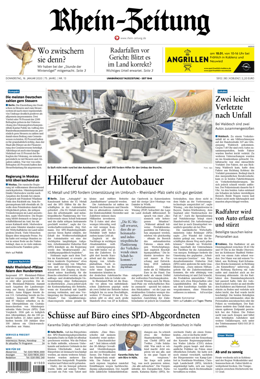 Rhein-Zeitung Koblenz & Region vom Donnerstag, 16.01.2020