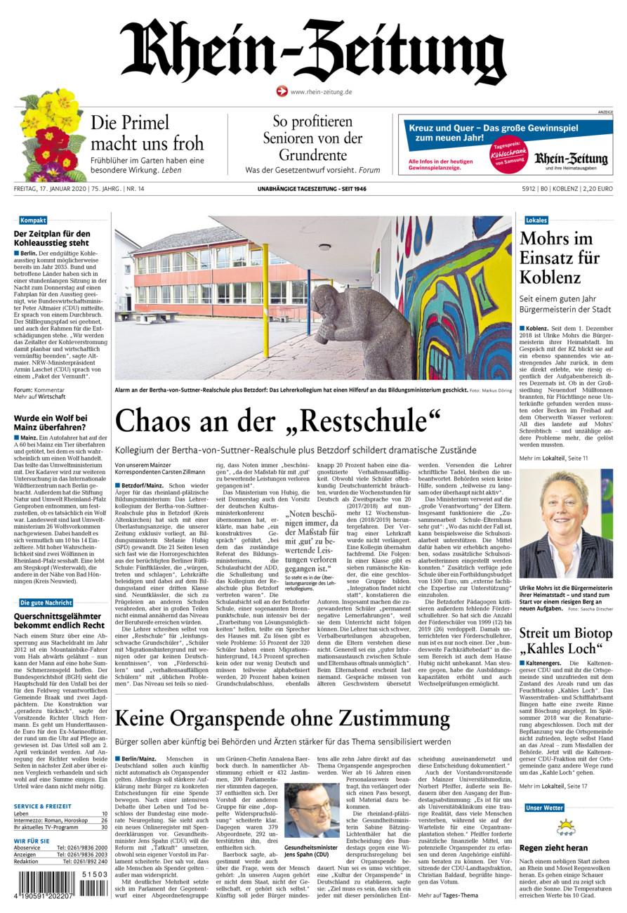 Rhein-Zeitung Koblenz & Region vom Freitag, 17.01.2020