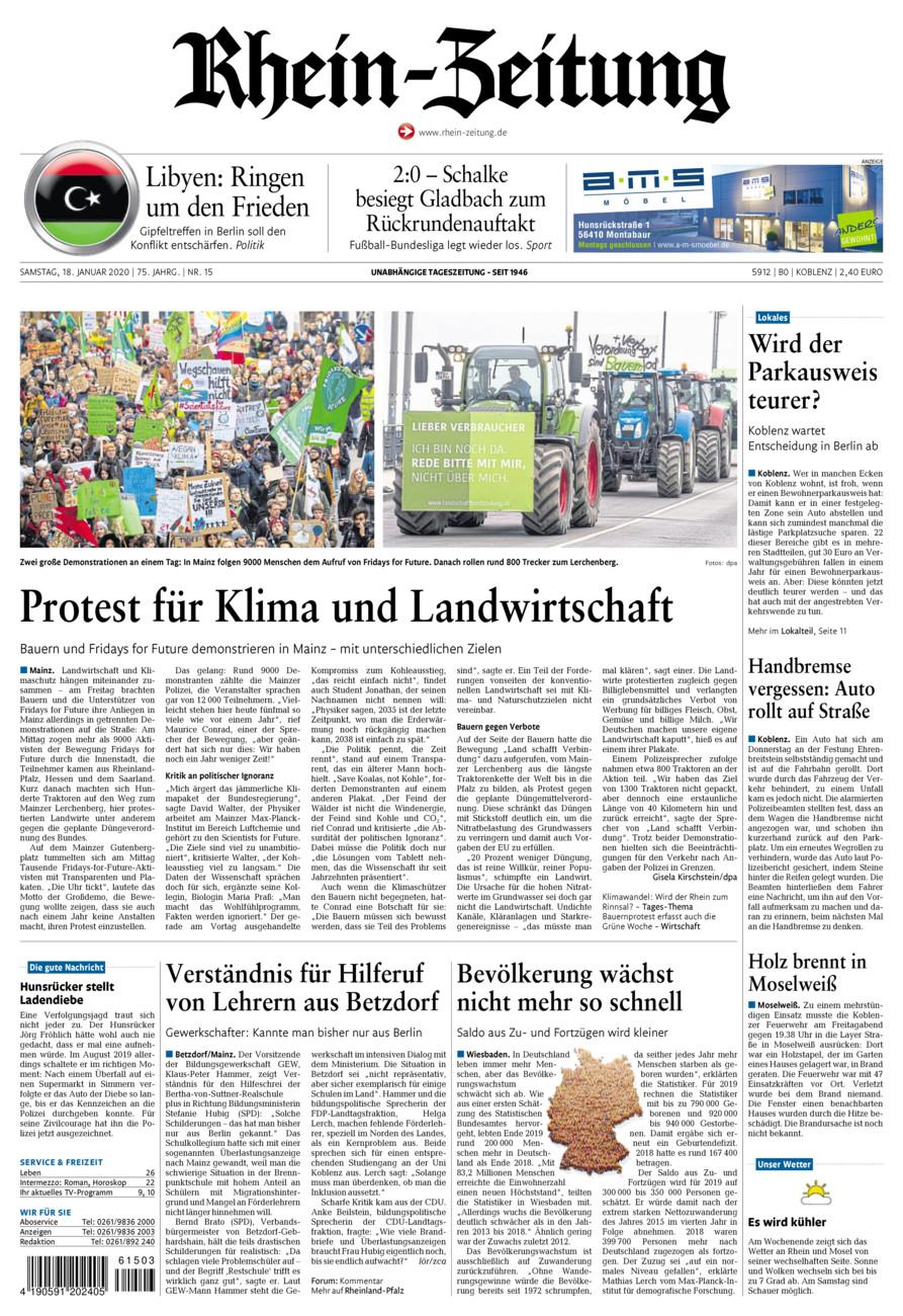 Rhein-Zeitung Koblenz & Region vom Samstag, 18.01.2020