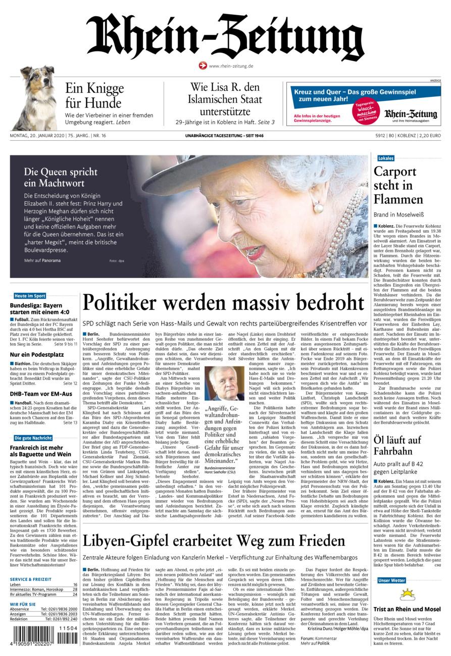 Rhein-Zeitung Koblenz & Region vom Montag, 20.01.2020