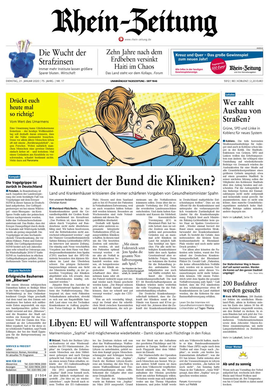 Rhein-Zeitung Koblenz & Region vom Dienstag, 21.01.2020