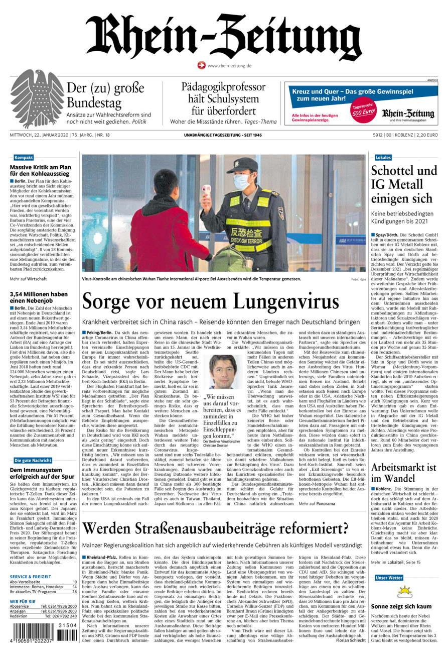 Rhein-Zeitung Koblenz & Region vom Mittwoch, 22.01.2020