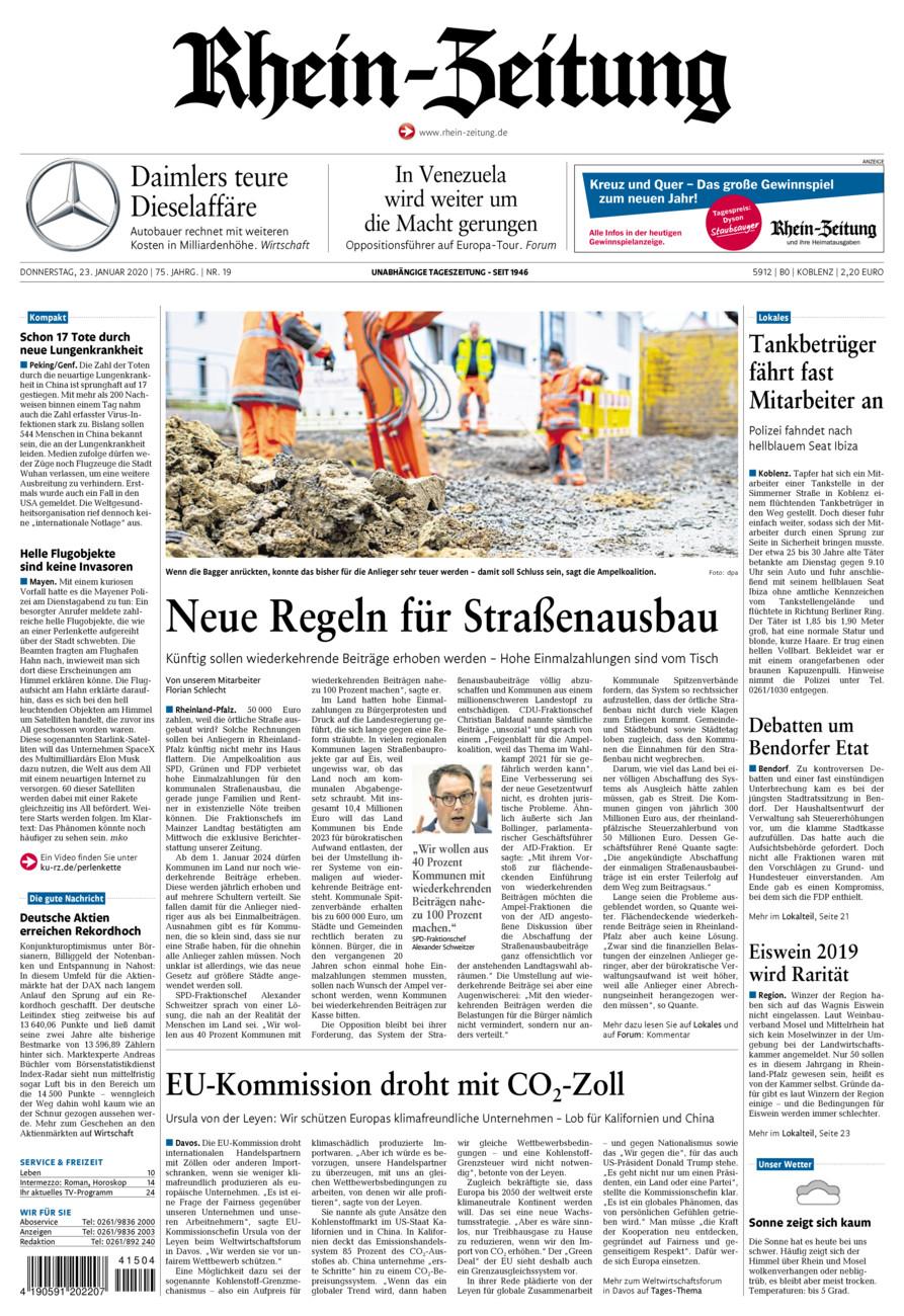 Rhein-Zeitung Koblenz & Region vom Donnerstag, 23.01.2020