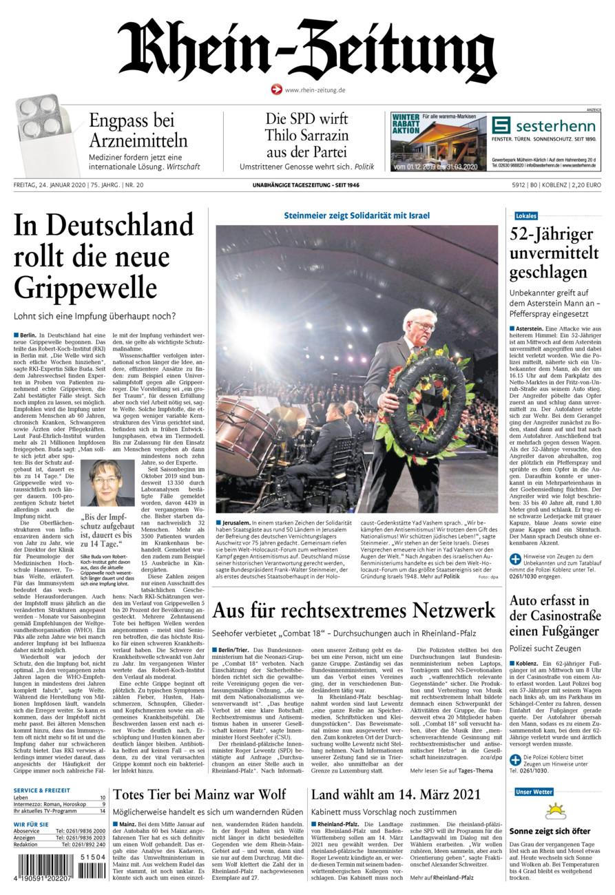 Rhein-Zeitung Koblenz & Region vom Freitag, 24.01.2020