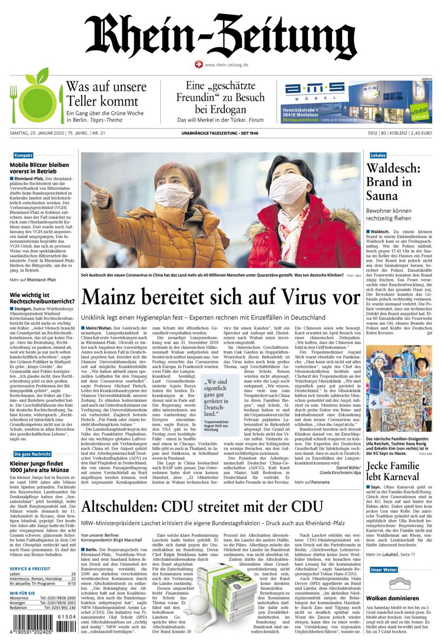 Rhein-Zeitung Koblenz & Region vom Samstag, 25.01.2020