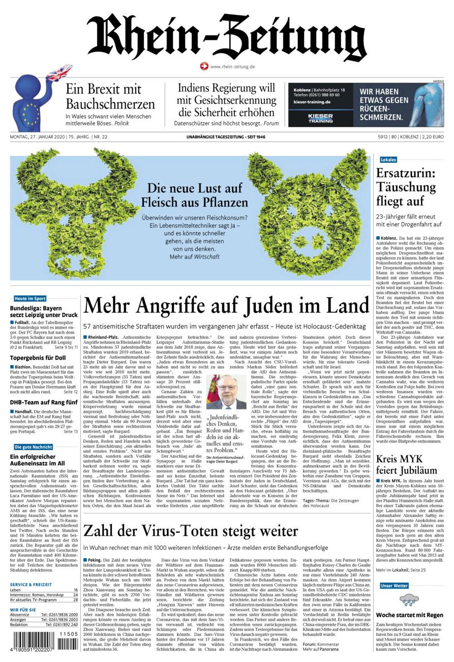 Rhein-Zeitung Koblenz & Region vom Montag, 27.01.2020