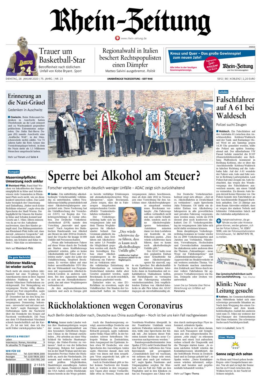 Rhein-Zeitung Koblenz & Region vom Dienstag, 28.01.2020