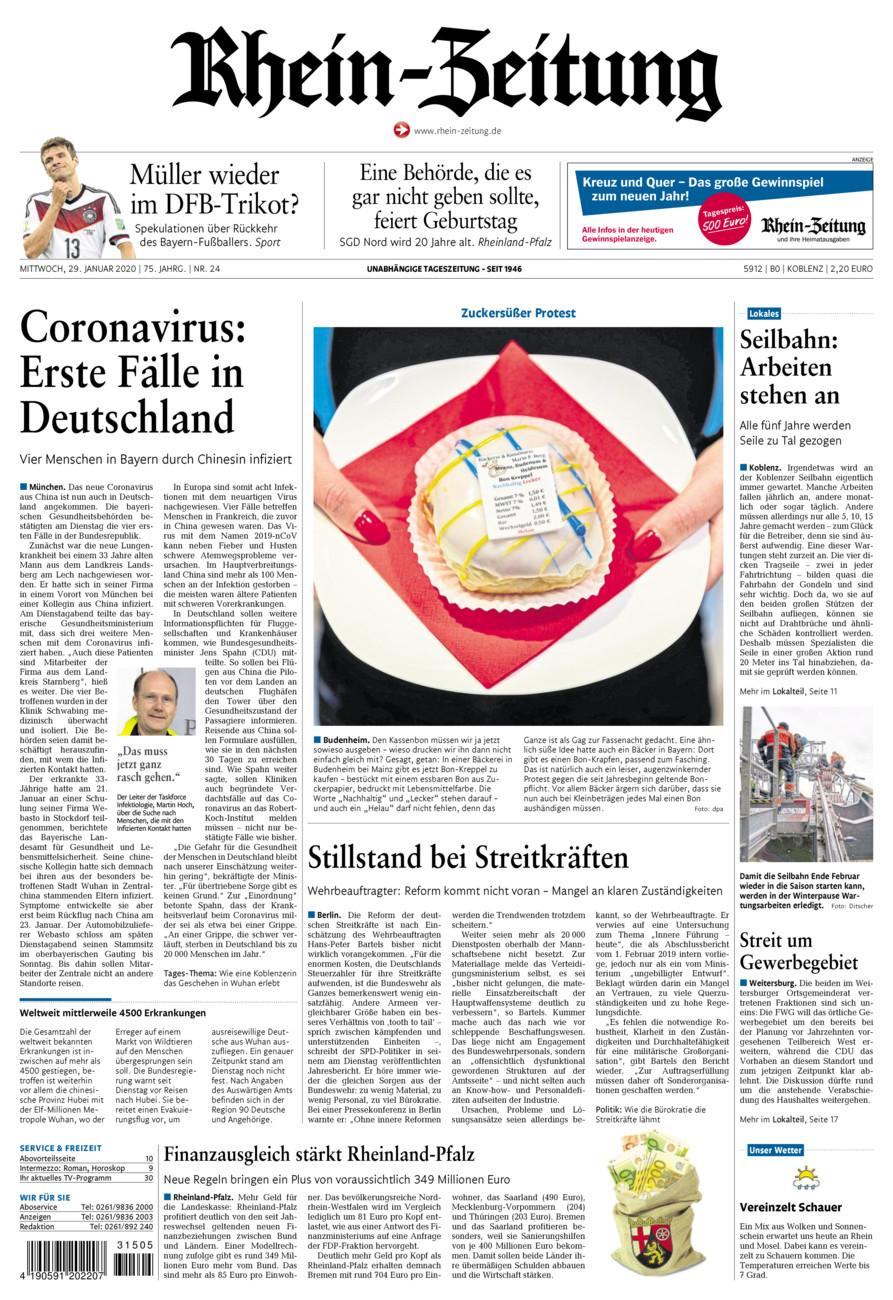 Rhein-Zeitung Koblenz & Region vom Mittwoch, 29.01.2020