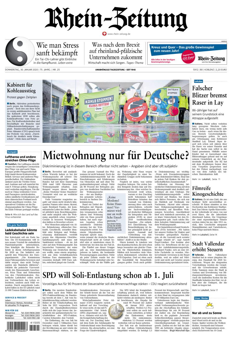 Rhein-Zeitung Koblenz & Region vom Donnerstag, 30.01.2020