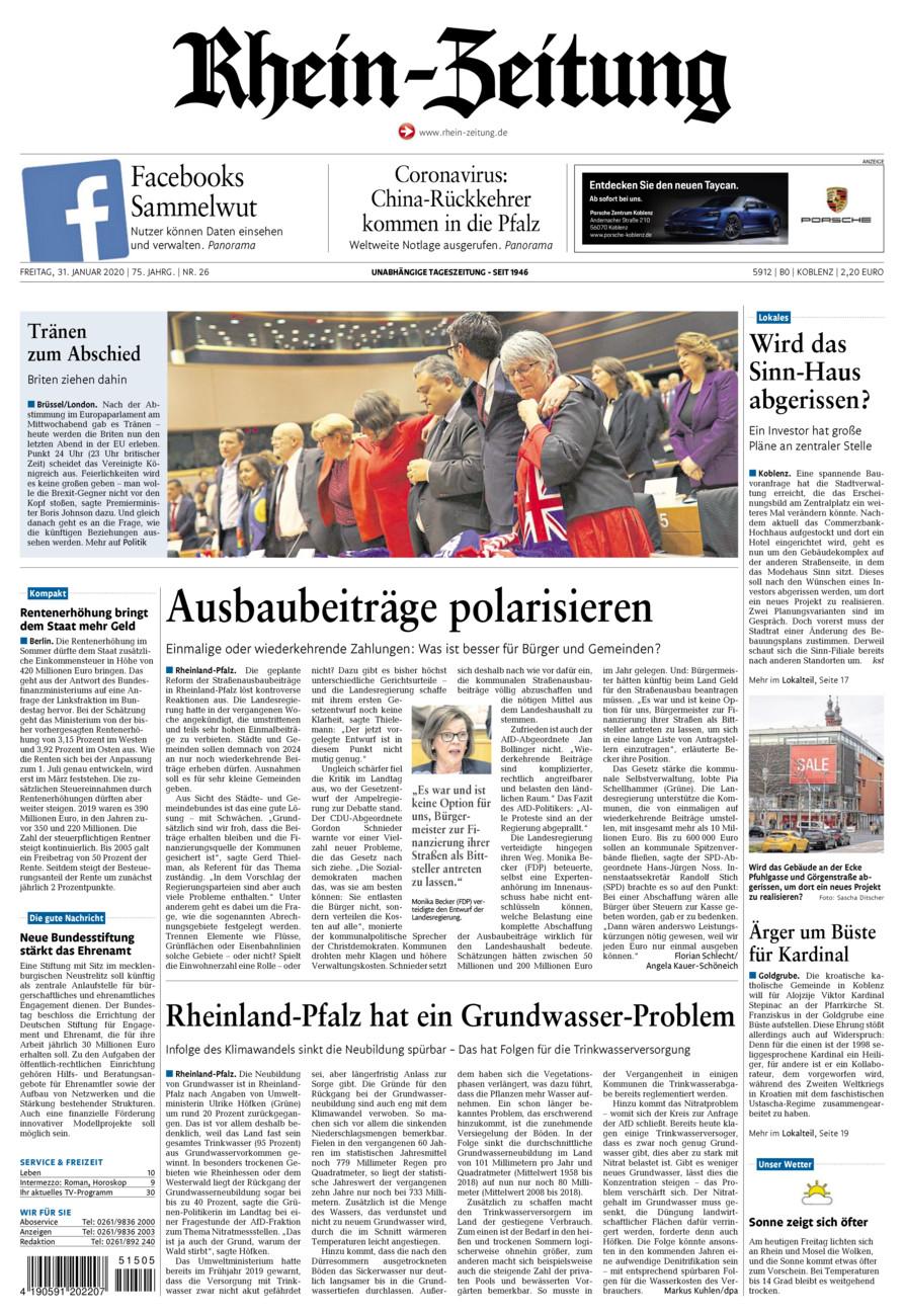 Rhein-Zeitung Koblenz & Region vom Freitag, 31.01.2020