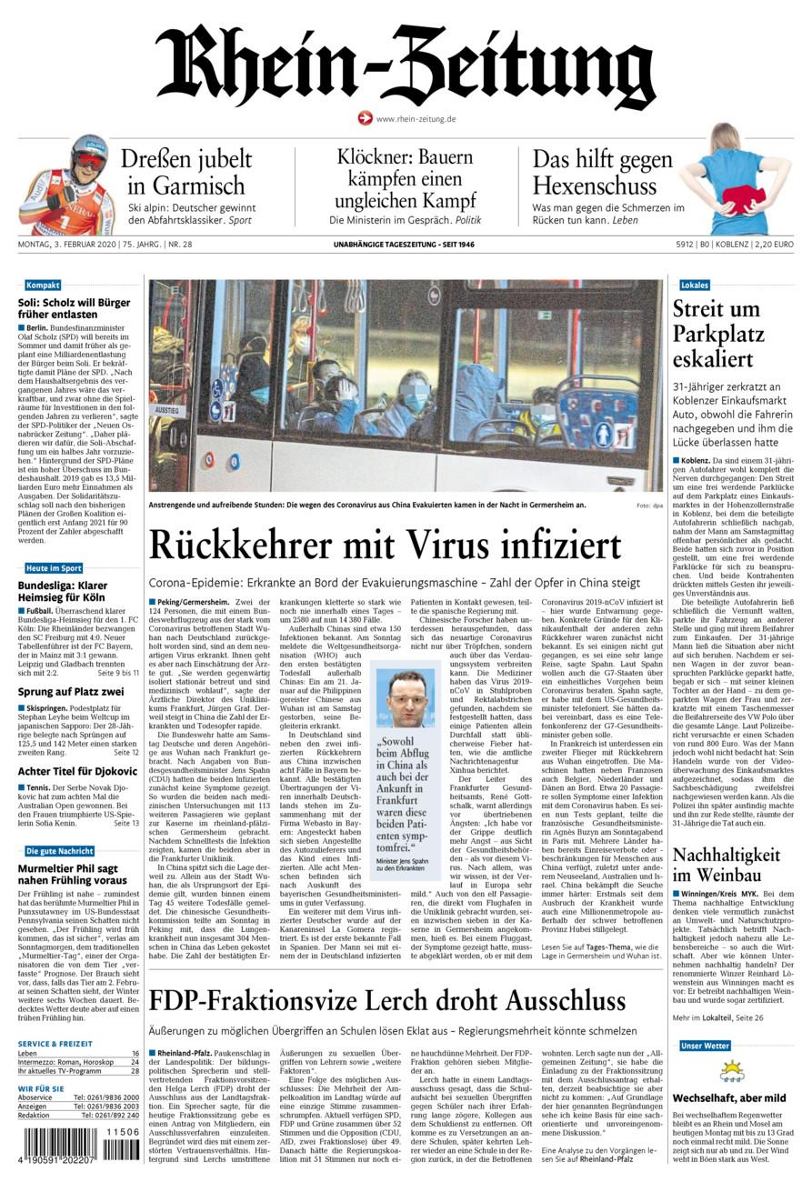 Rhein-Zeitung Koblenz & Region vom Montag, 03.02.2020