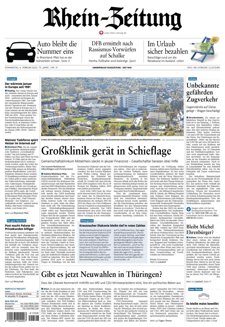 Rhein-Zeitung Koblenz & Region vom Donnerstag, 06.02.2020