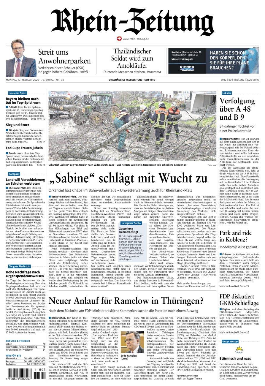 Rhein-Zeitung Koblenz & Region vom Montag, 10.02.2020