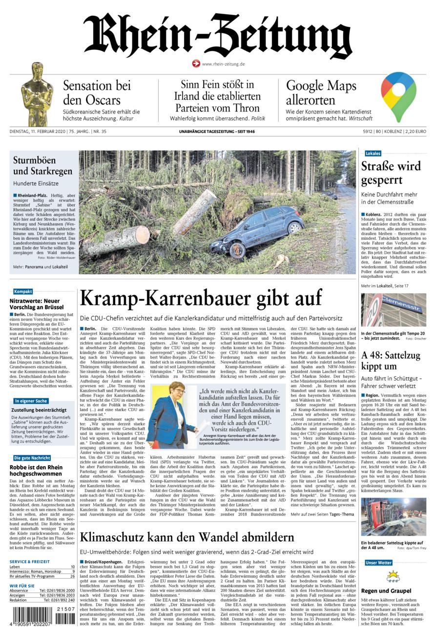 Rhein-Zeitung Koblenz & Region vom Dienstag, 11.02.2020