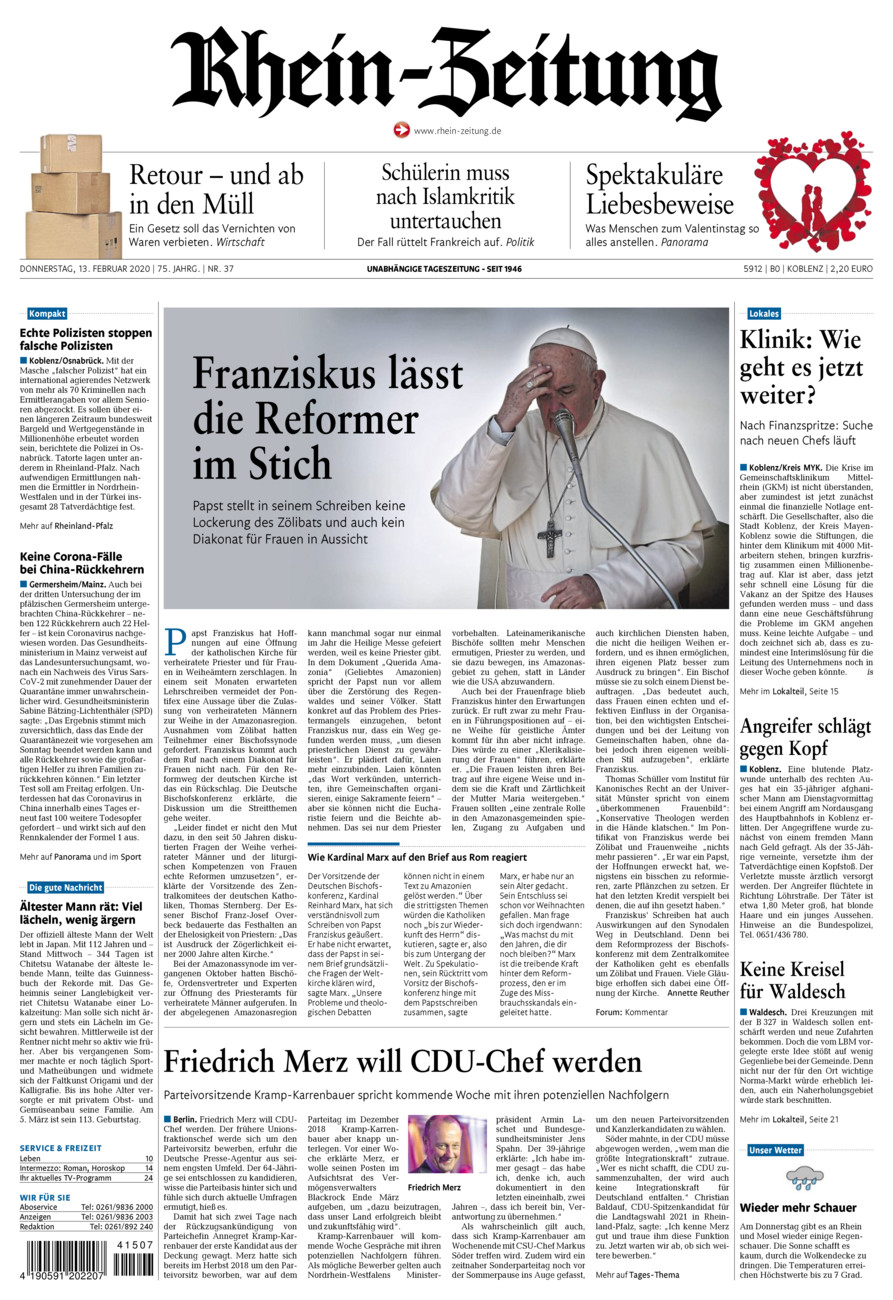 Rhein-Zeitung Koblenz & Region vom Donnerstag, 13.02.2020
