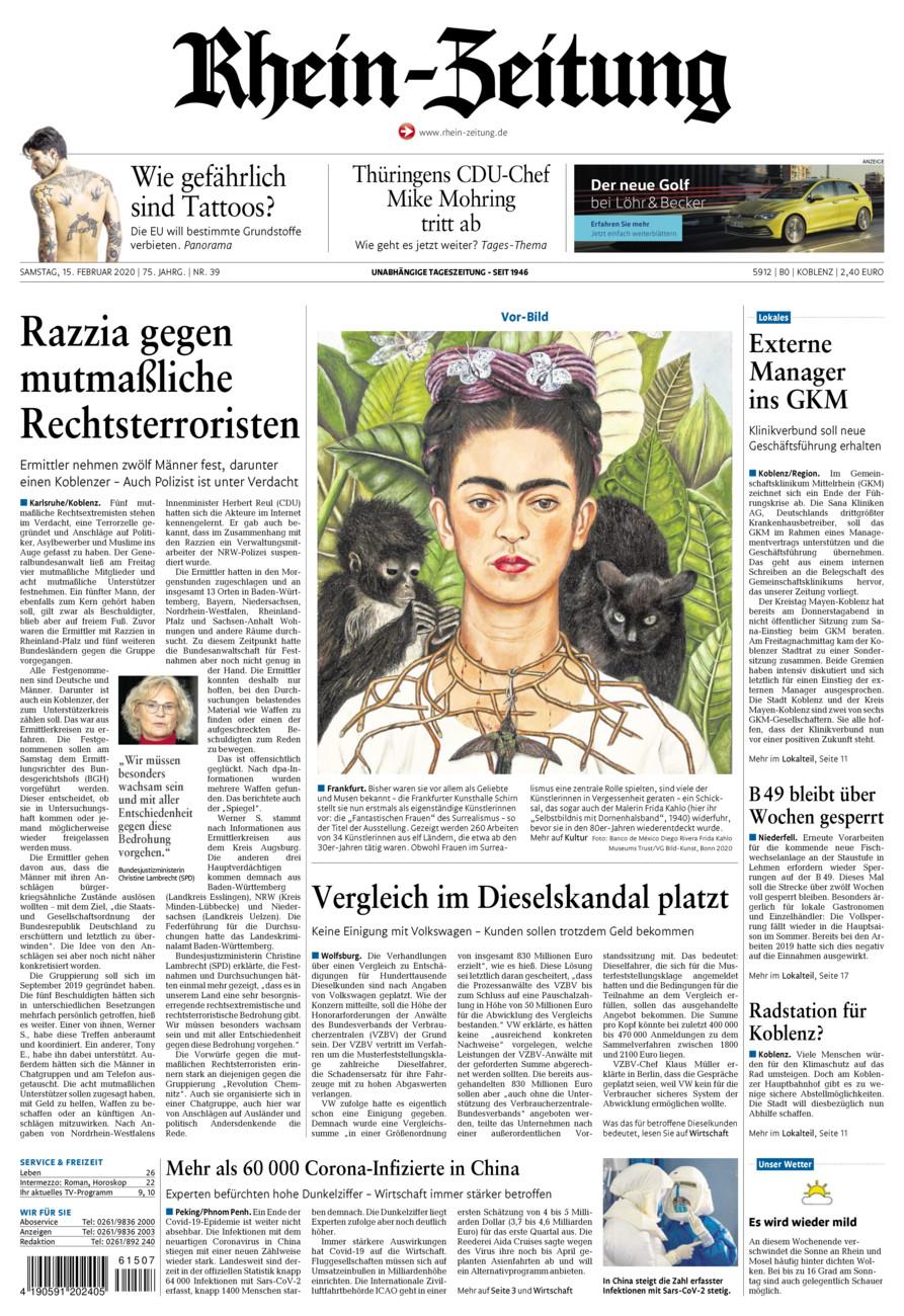 Rhein-Zeitung Koblenz & Region vom Samstag, 15.02.2020
