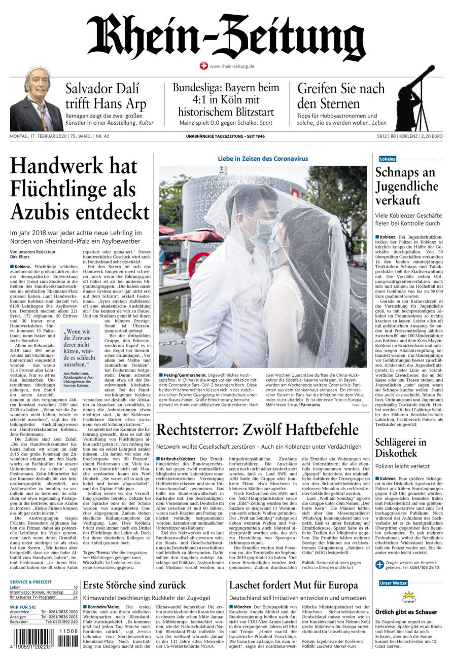 Rhein-Zeitung Koblenz & Region vom Montag, 17.02.2020
