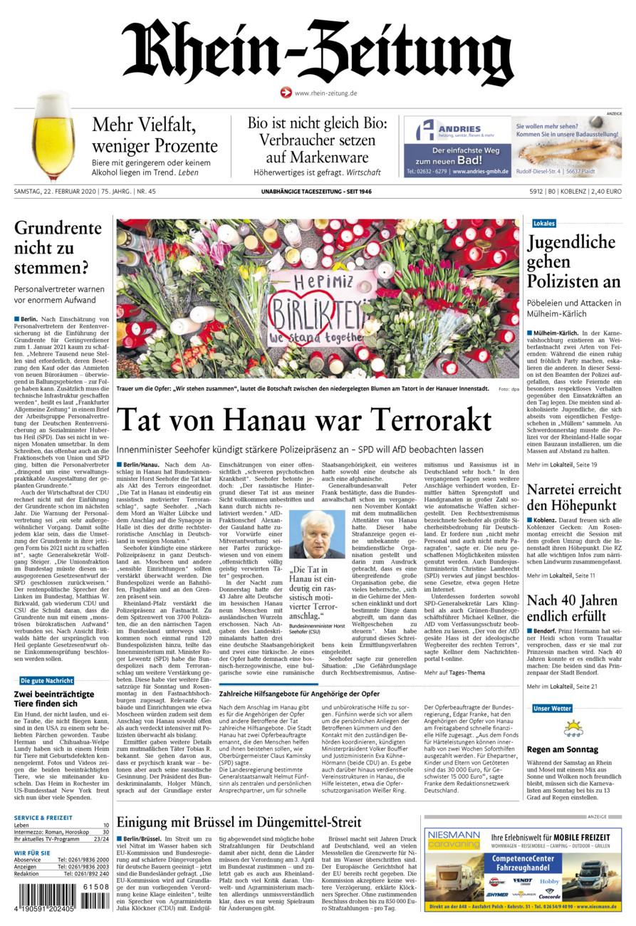 Rhein-Zeitung Koblenz & Region vom Samstag, 22.02.2020