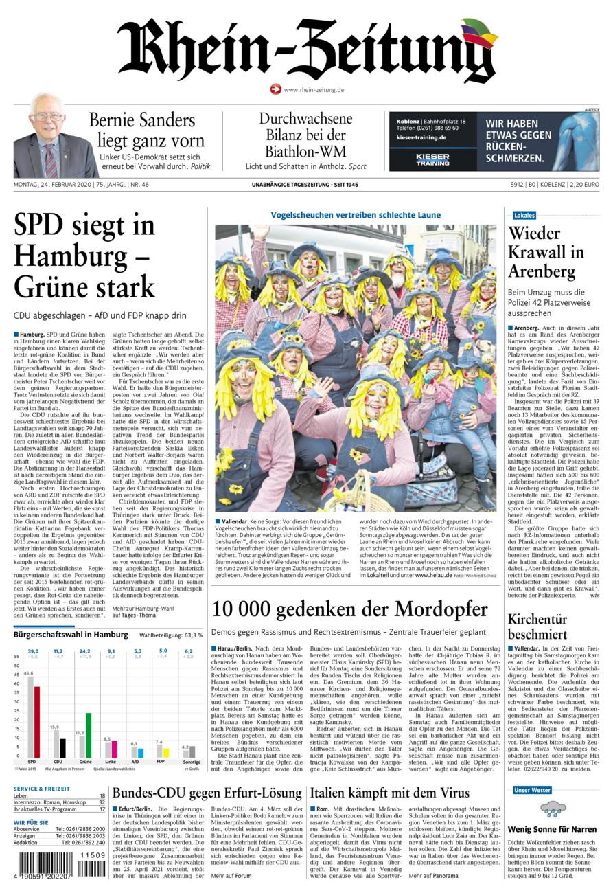 Rhein-Zeitung Koblenz & Region vom Montag, 24.02.2020