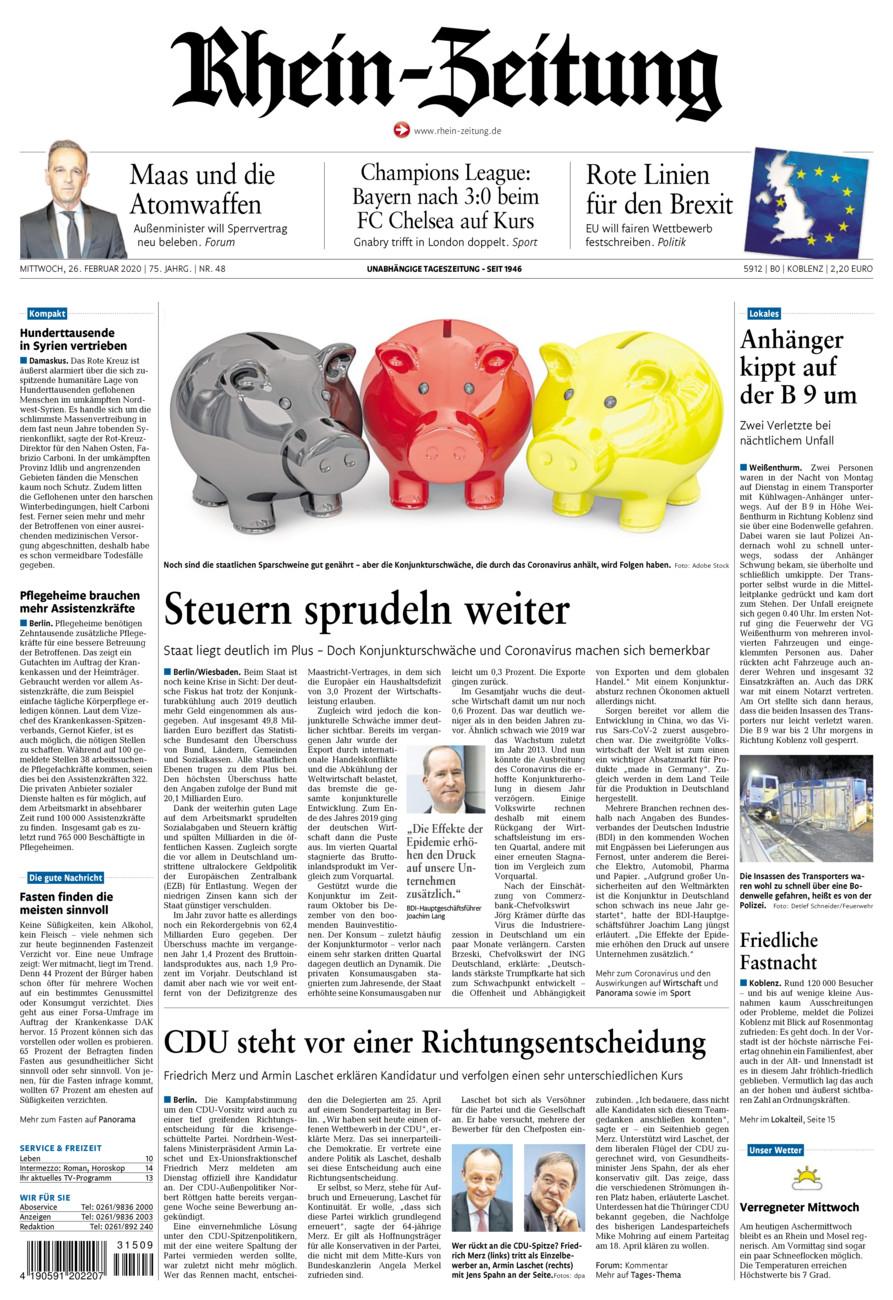 Rhein-Zeitung Koblenz & Region vom Mittwoch, 26.02.2020