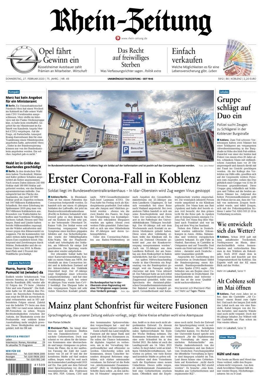 Rhein-Zeitung Koblenz & Region vom Donnerstag, 27.02.2020