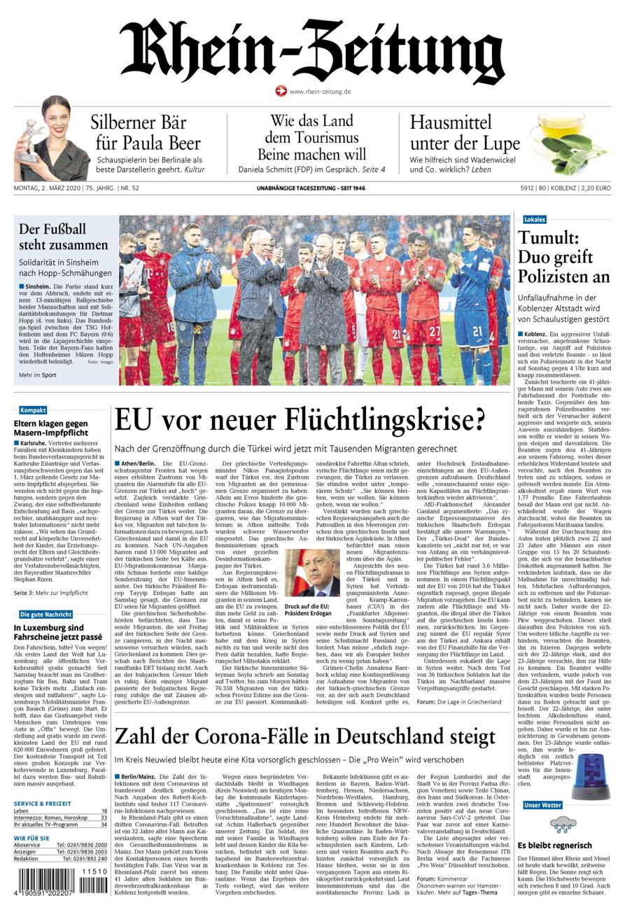 Rhein-Zeitung Koblenz & Region vom Montag, 02.03.2020