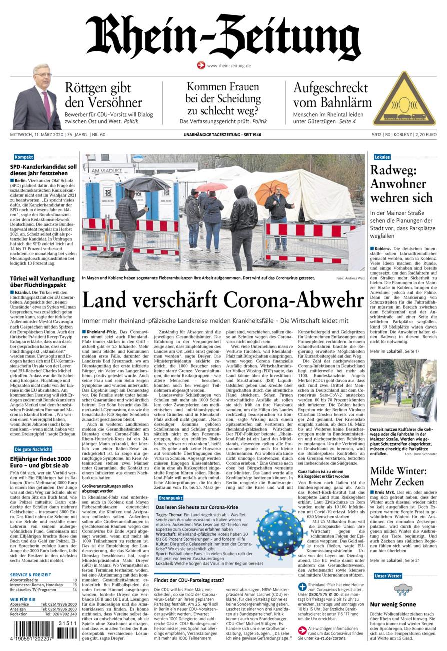 Rhein-Zeitung Koblenz & Region vom Mittwoch, 11.03.2020
