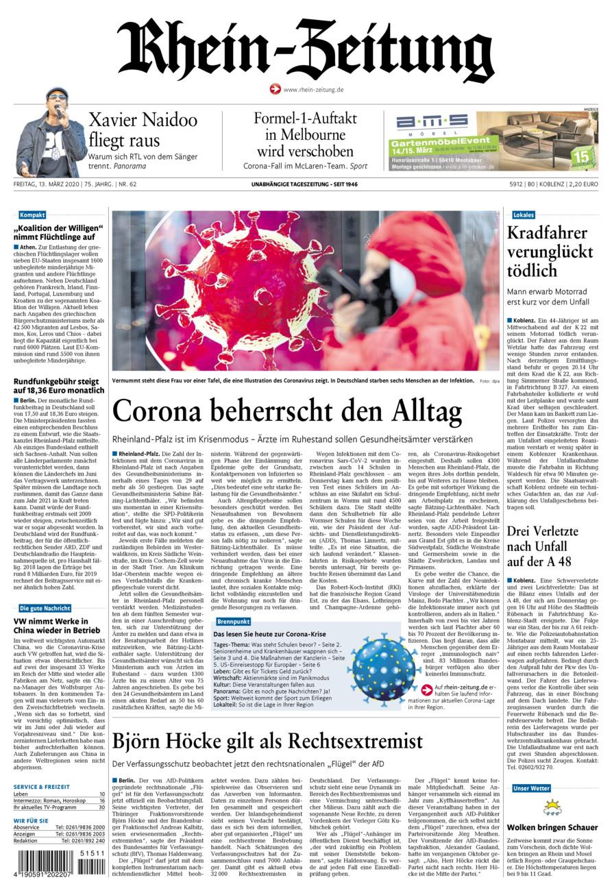Rhein-Zeitung Koblenz & Region vom Freitag, 13.03.2020
