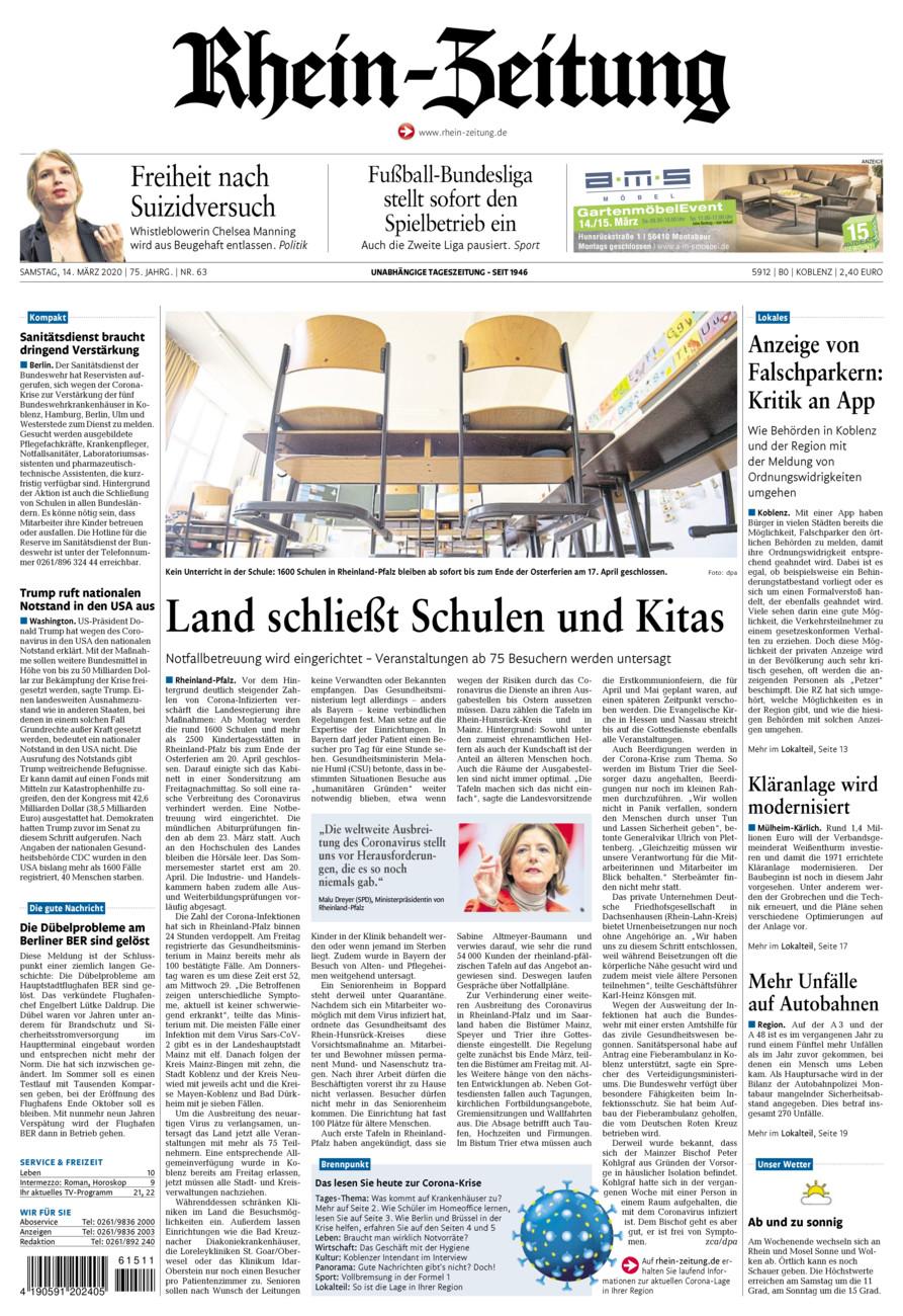 Rhein-Zeitung Koblenz & Region vom Samstag, 14.03.2020