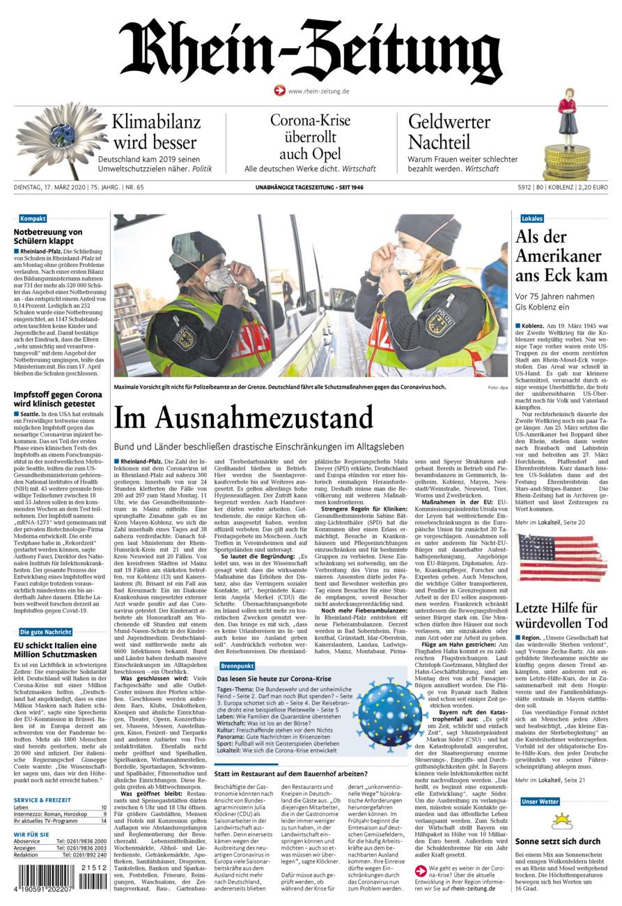 Rhein-Zeitung Koblenz & Region vom Dienstag, 17.03.2020