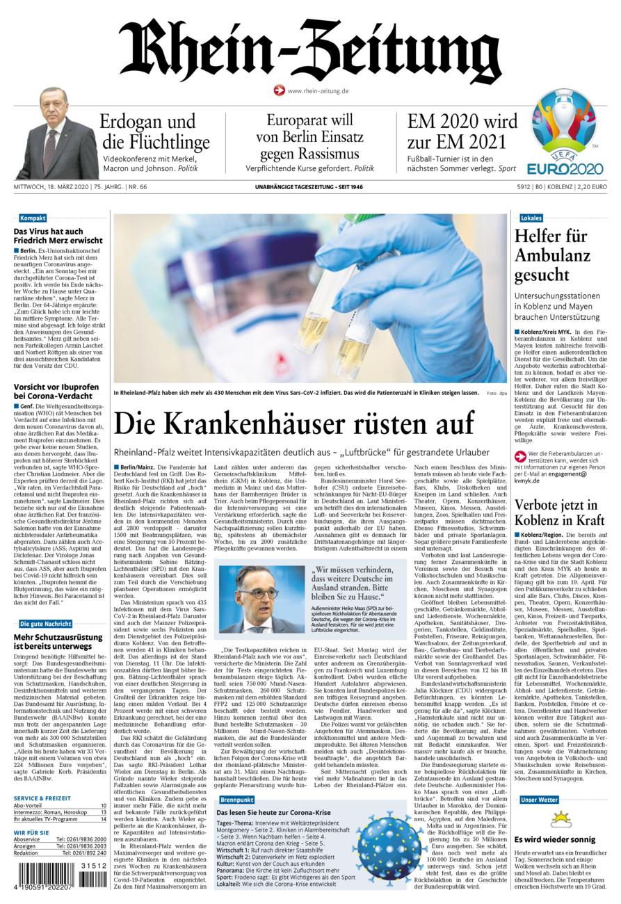 Rhein-Zeitung Koblenz & Region vom Mittwoch, 18.03.2020