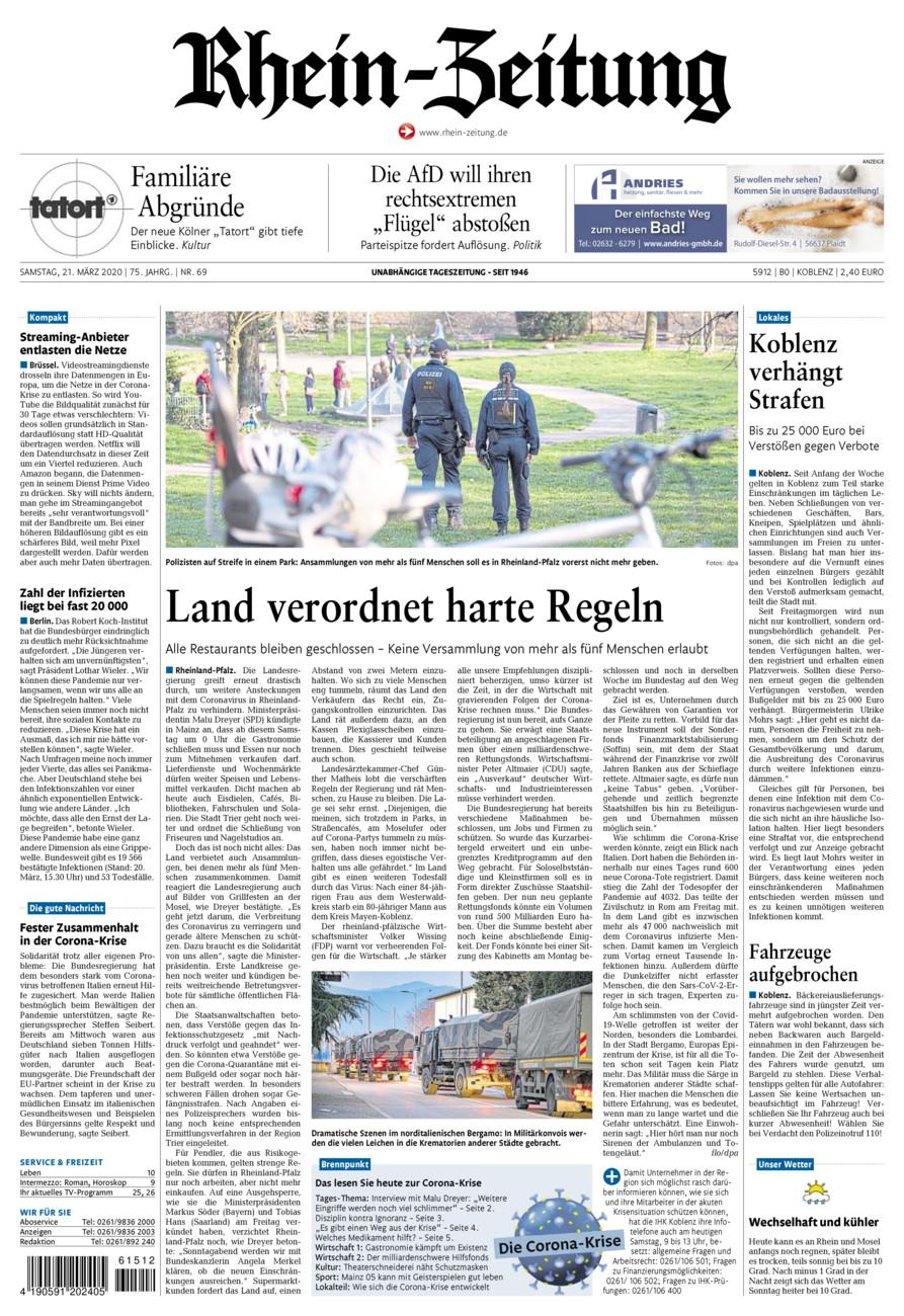 Rhein-Zeitung Koblenz & Region vom Samstag, 21.03.2020