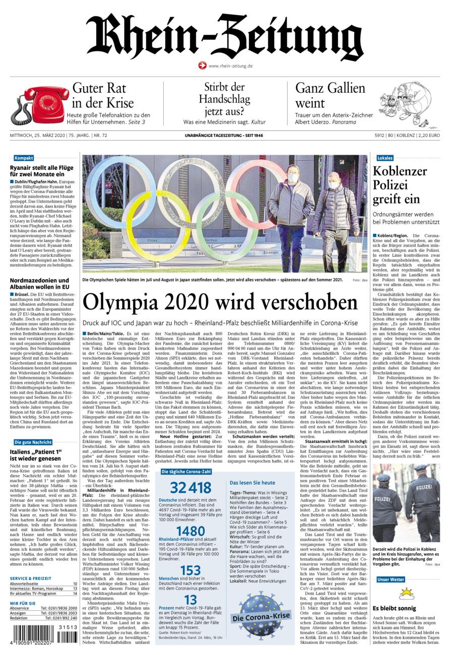 Rhein-Zeitung Koblenz & Region vom Mittwoch, 25.03.2020