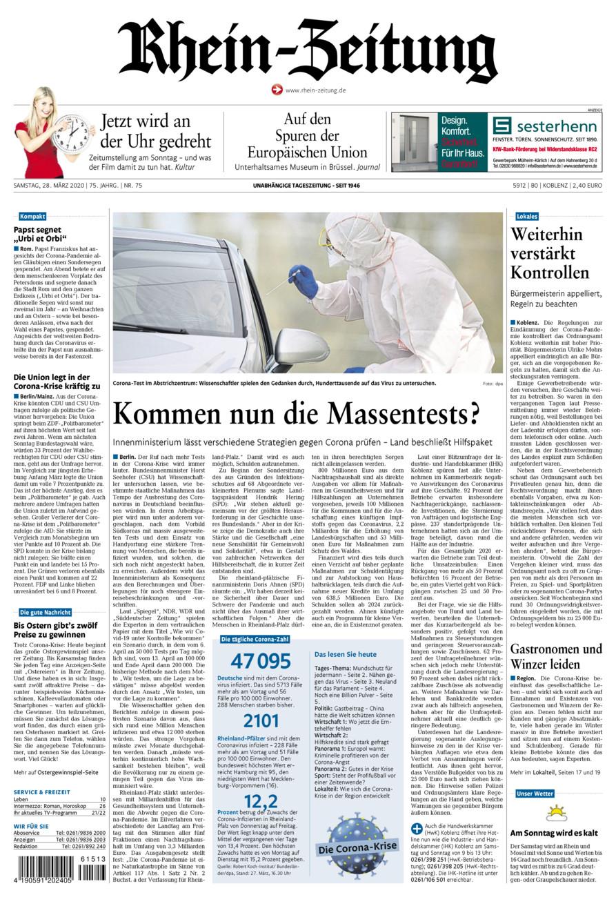 Rhein-Zeitung Koblenz & Region vom Samstag, 28.03.2020