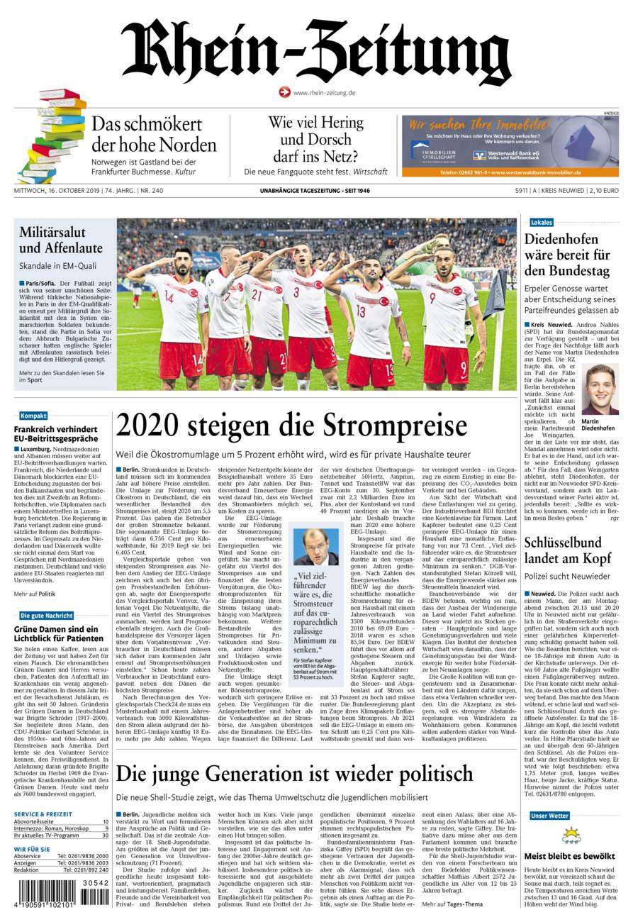 Rhein-Zeitung Kreis Neuwied vom Mittwoch, 16.10.2019