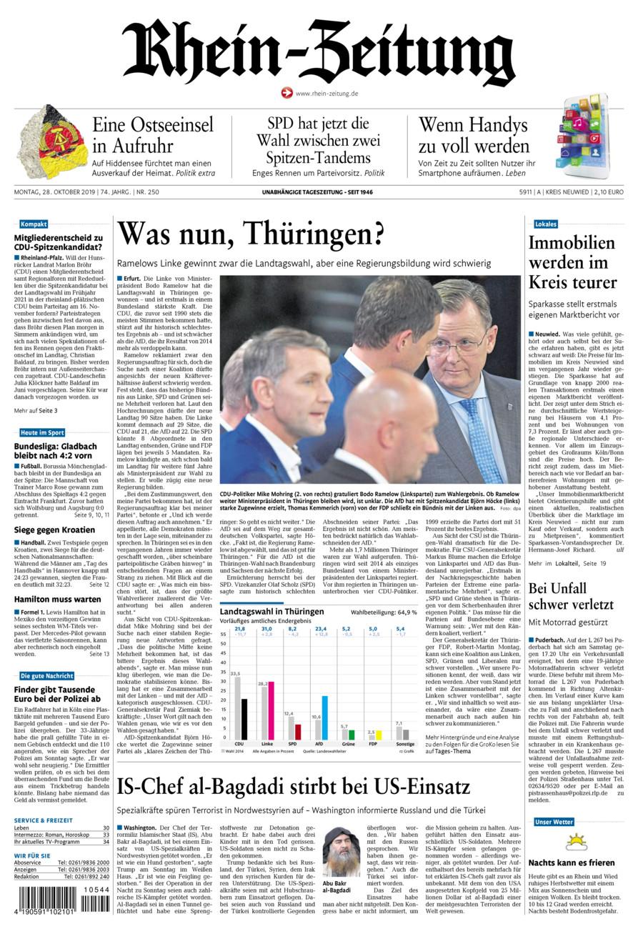 Rhein-Zeitung Kreis Neuwied vom Montag, 28.10.2019