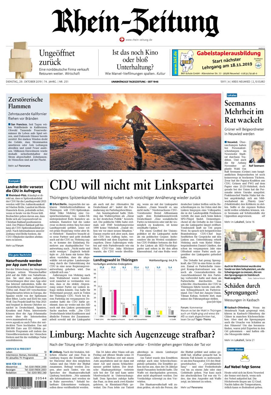 Rhein-Zeitung Kreis Neuwied vom Dienstag, 29.10.2019