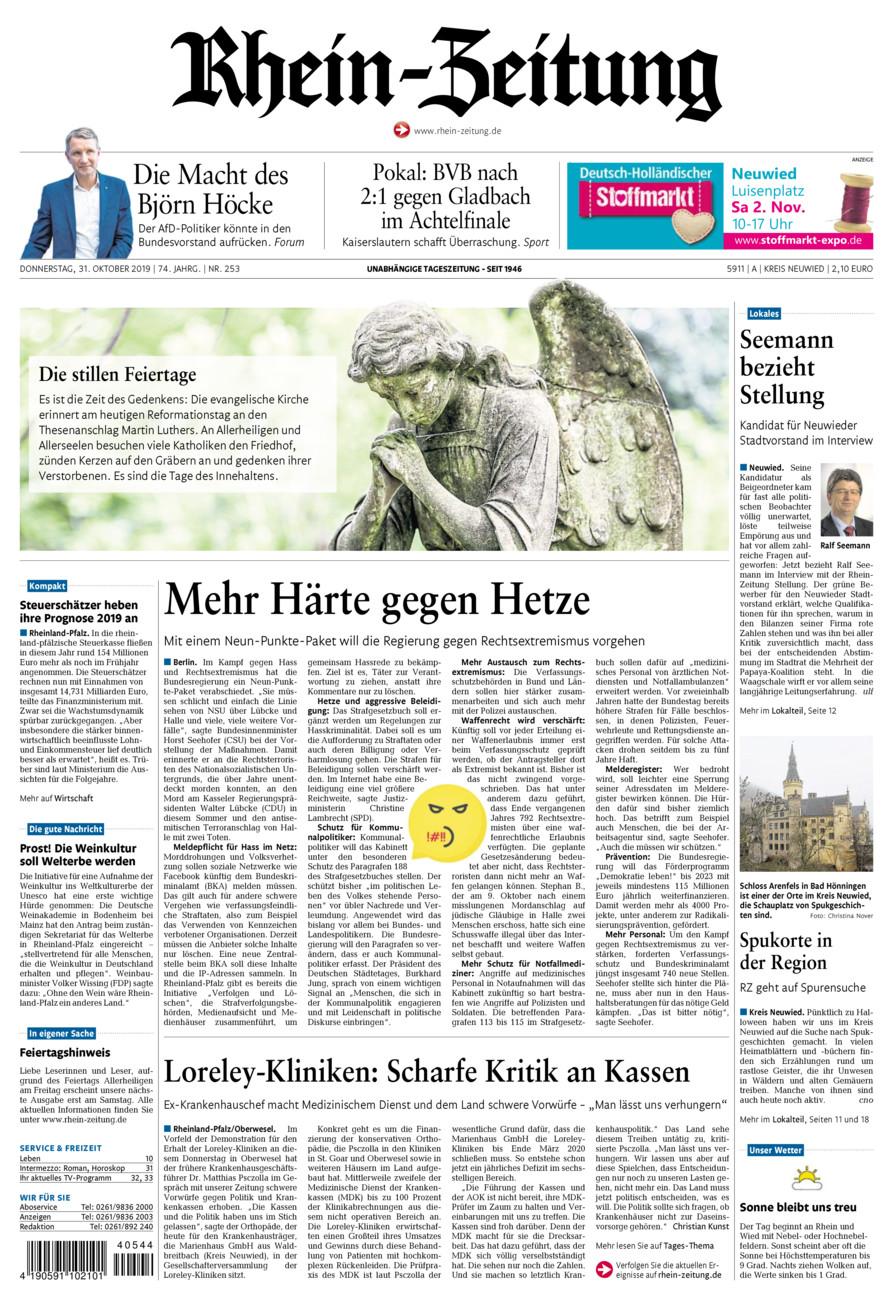 Rhein-Zeitung Kreis Neuwied vom Donnerstag, 31.10.2019