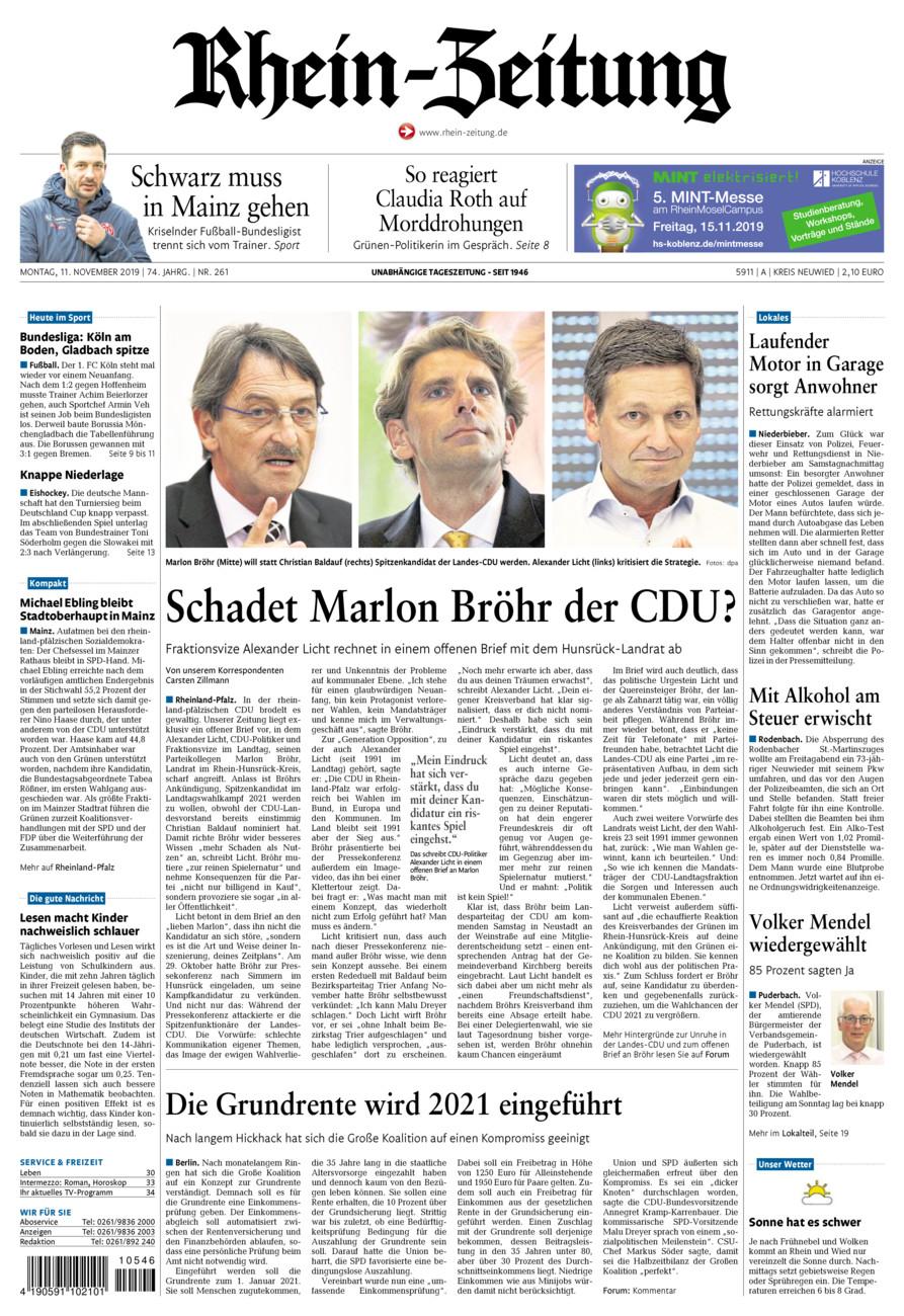 Rhein-Zeitung Kreis Neuwied vom Montag, 11.11.2019