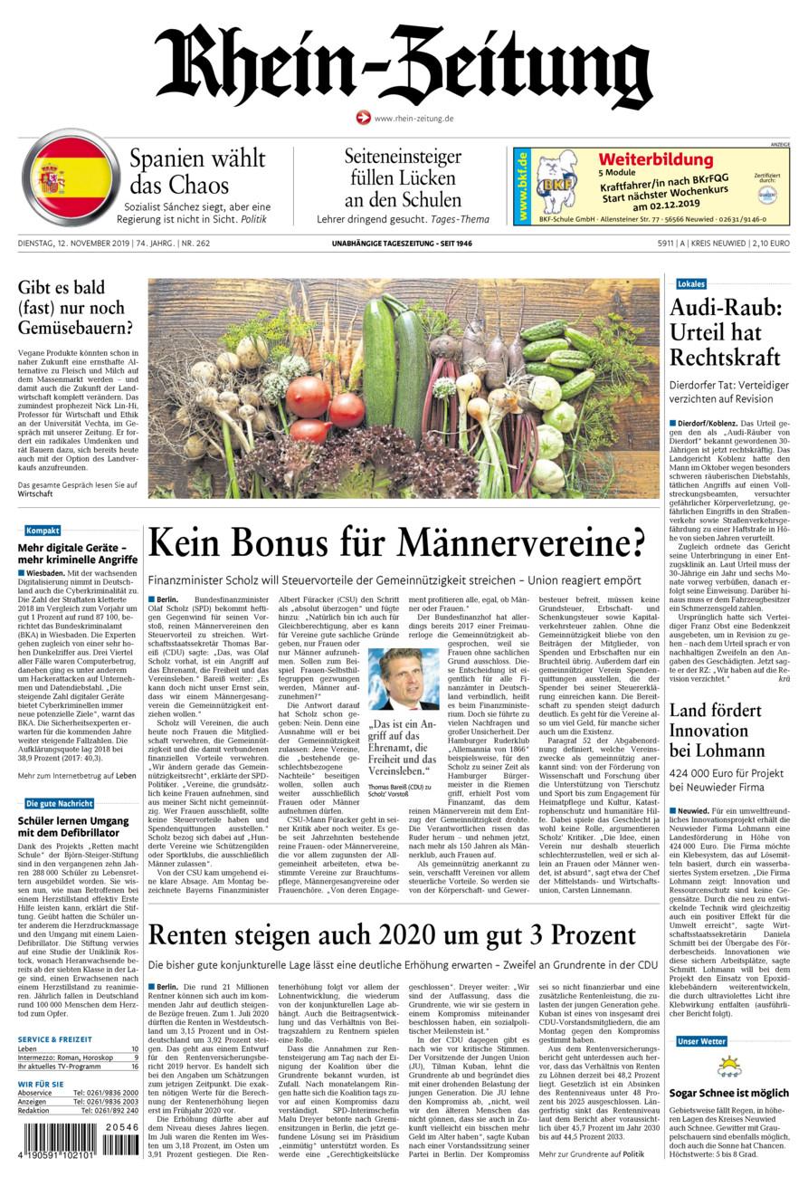 Rhein-Zeitung Kreis Neuwied vom Dienstag, 12.11.2019