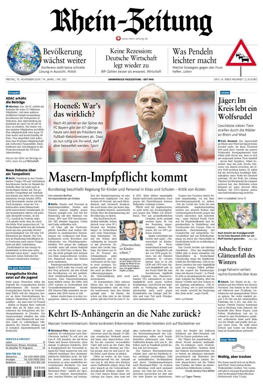 Rhein-Zeitung Kreis Neuwied vom Freitag, 15.11.2019